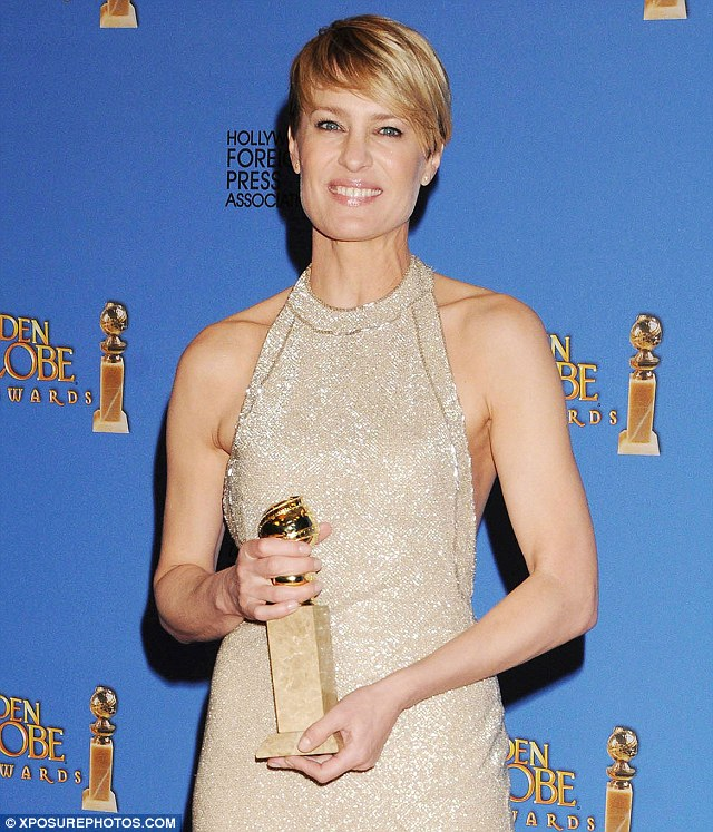 """'When I heard my name, my first instinct was, """"They've got it wrong""""': Wright was 'in shock' when her portrayal of a crafty Congressman's wife Claire Underwood on House of Cards scored her a Golden Globe"""