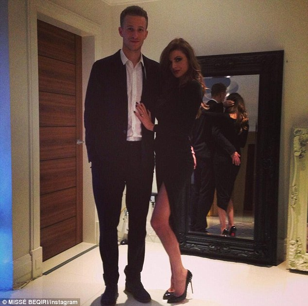 Happy couple: Anders Lindegaard poses with girlfriend Misse Beqiri