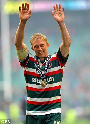 Happy days: Moody (pictured) playing for Leicester Tigers celebrates winning the 2010 Guinness Premiership Final