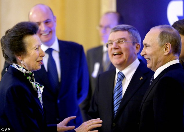 Princess Anne, who is a member of the International Olympic Committee, was seen greeting Russian President Vladimir Putin, IOC President Thomas Bach, second from right, and Sochi 2014 Olympics President Dmitry Chernyshenko, left, in Sochi yesterday