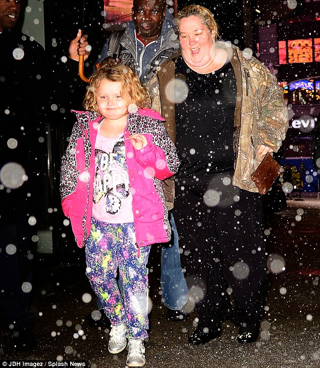 On a PR blizzard: The family made their way through a snowstorm in NYC to promote their new show