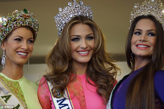 Living the dream: Miss Venezuela (centre) and the two runners up can now expect a stellar showbiz career