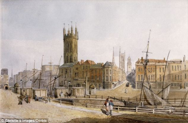 Bristol became a wealthy port during the slave trade, with more than 2,000 ships leaving the city to make a trip to Africa and then across the Atlantic with around 500,000 slaves.  An illustration of part of the city in the 1800s is pictured