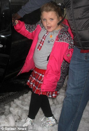 Snow stomping: Honey Boo Boo made her way through the snow to a vehicle