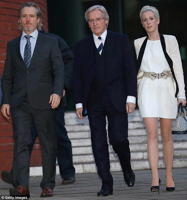 Support: Bill flanked by son Linus and daughter Verity on day 11 of his trial for historical sexual offences