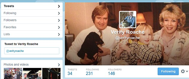 Quiet life: Verity has a Twitter account but is not a prolific user of the site