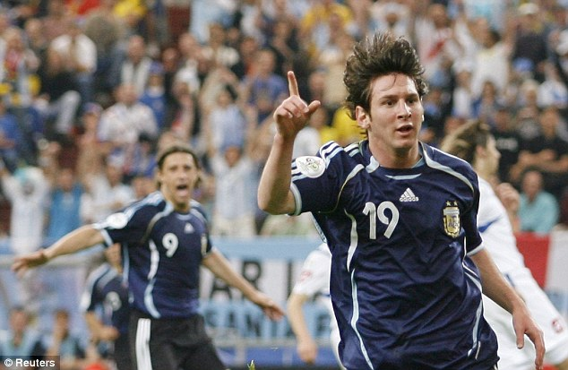 One and only: Messi's one goal in the World Cup came against Serbia and Montenegro in 2006