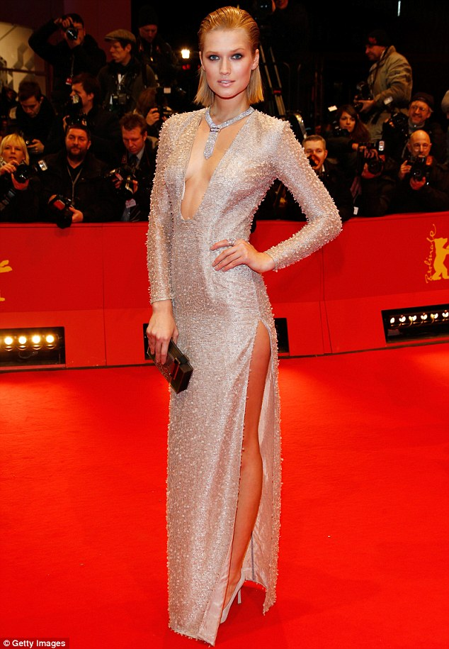 Smouldering: Toni Garrn stole the show at The Grand Budapest Hotel premiere and opening ceremony during the 64th Berlinale International Film Festival in Germany on Thursday