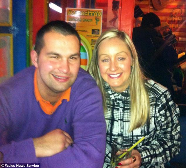 Ms Holmes with her boyfriend Dean Herbert on the ski holiday the night before she died. The postal worker told Facebook friends he is flying back into the UK with his girlfriend's body today