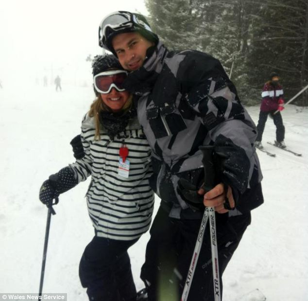 Nina Holmes was on a ski holiday in Borovets when she collapsed outside BJ's bar Sunday night. She pictured with her boyfriend Dean Herbert
