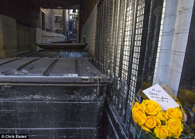 Tribute: Flowers were laid today near the spot where the popular Irish student is believed to have fallen to his death