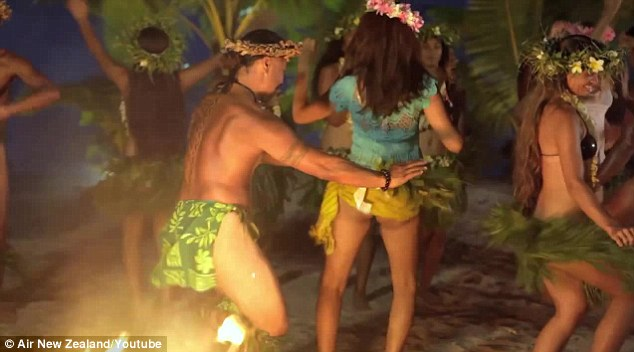Learning local customs: The models joined in on Cook Island dances for the video