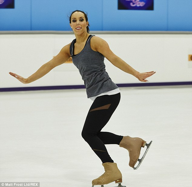 Dainty: Beth placed her arms in a dainty pose as she sped around the ice rink