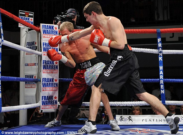 Another defeat: Robin Deakin is hit in the face by Billy Morgan during their bout in 2011. In total, Deakin has lost 50 out of his 51 professional fights and lost his licence