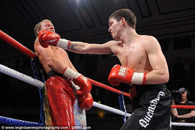 Defeated: Robin Deakin (left) is beaten again - this time by Billy Morgan in February 2011 as he wracked up 50 losses in a row