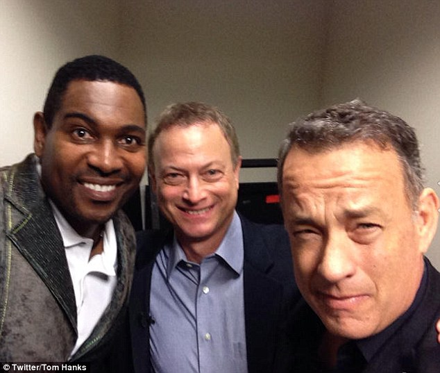 Reunion: Tom hanks took a photo with Gary Sinise and Mykelti Williamson and posted it onto his Twitter page