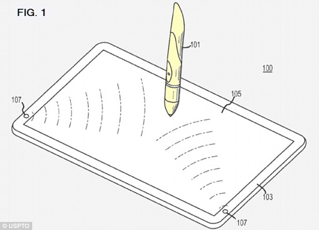 Early iPen patents featured just a speaker and haptic feedback. A separate patent (pictured) added orientation features in which the iPen would draw different lines depending on the angle it was being held at. This means users could change the thickness or style of a line, or make writing more closely resemble their own