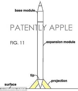 According to the detail in the patent, the pen would consist of a 'base module', pictured, with a stylus tip for use with Apple's iPhone and iPads