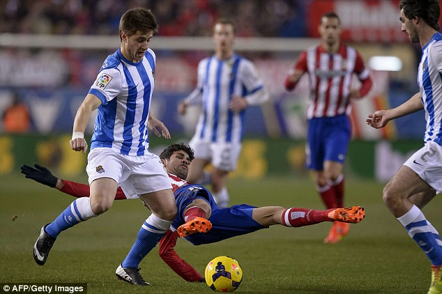 Star in the making? Inigo Martinez (left) has great potential, but makes rash decisions and Sociedad don't sell easily