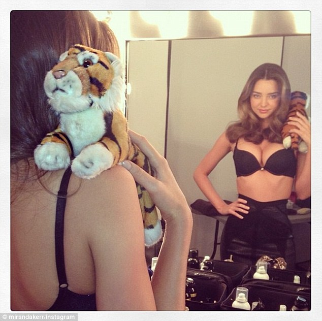 Sexy selfie: Miranda posted this racy selfie on Thursday during what appeared to be a modelling shot