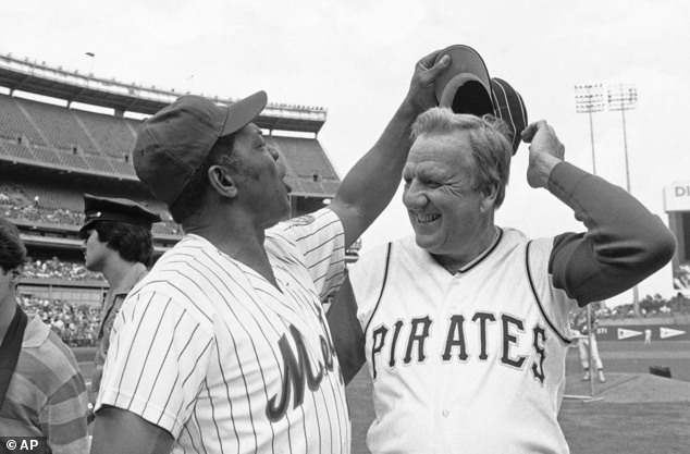 FILE - In this Aug. 14, 1982 file photo, Willie Mays tries to get Ralph Kinerís hat as the two Hall of Famers pose for pictures before the start of Old Timer...