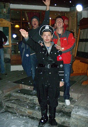 Conviction: Mark Fournier, pictured in Nazi uniform, was fined by a French court