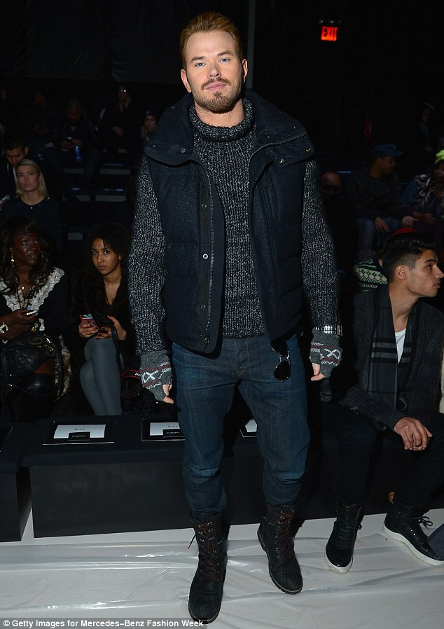 Winter chic: The 28-year-old actor wore a blue and white knit turtle-neck sweater, paired with a padded navy blue vest