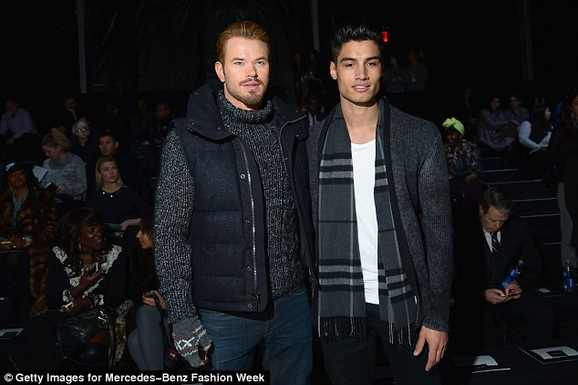 Fashionable buddies: Kellan Lutz attended the Black Sail by Nautica fashion show during New York Fashion Week on Friday, where he sat next to Siva Kaneswaran of The Wanted