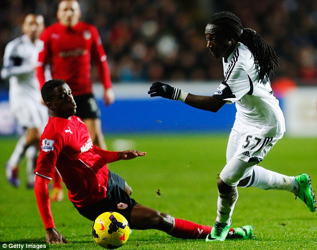 New face: Marvin Emnes (right) lasted only the first half before being substituted