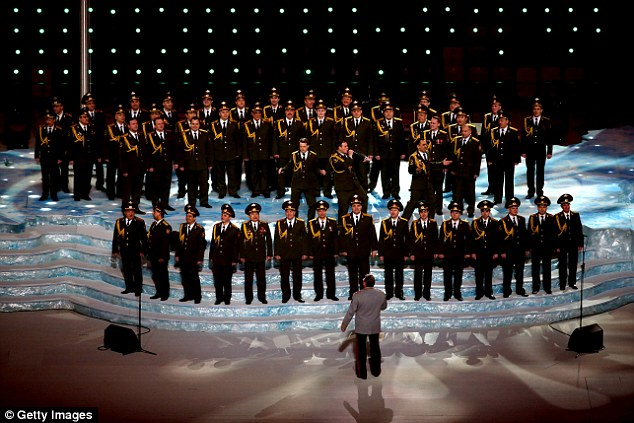 Probably not the Daft Punk song: The Ministry of Internal Affairs choir sings 'Get Lucky' during the Opening Ceremony of the Sochi 2014 Winter Olympics at Fisht Olympic Stadium