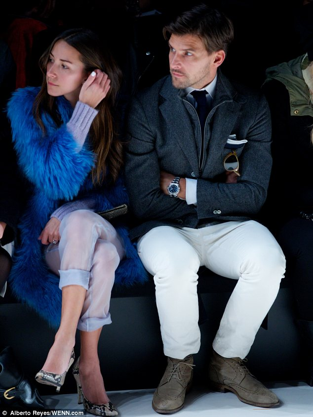 Hunk in the house: Olivia Palermo's model fiance Johannes Heubl was also spotted at the event