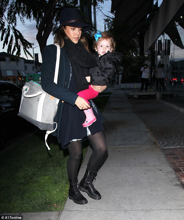 Stylish: Jessica Alba was spotted in a stylish overcoat with her daughter Haven