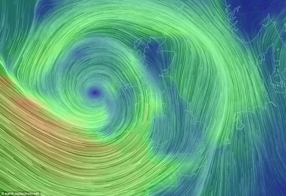 A real-time global wind map shows the 80mph gales battering the west coast of Wales and Devon and Cornwall
