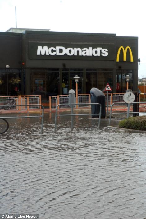 McDonald's at Reading Gate Retail Park Reading Berkshire under floods