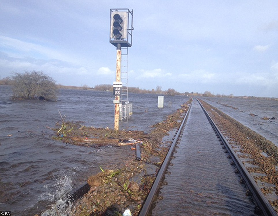 The tracks were left under water after the River Perrett burst its banks