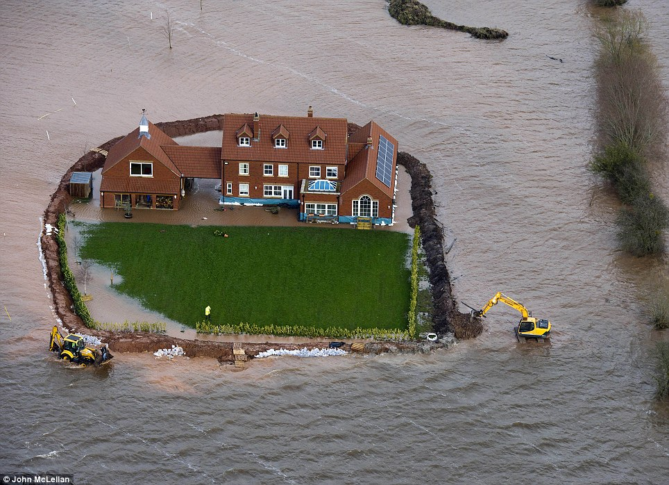 The Moorland home of builder Sam Notaro, whose flood defences are being overwhelmed