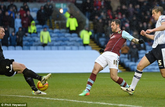 On target again: Danny Ings scored two goals to send Burnley up to second in the Championship