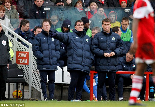 Bore draw: Blackburn Rovers' manager Gary Bowyer watches from the touchline with his assistants