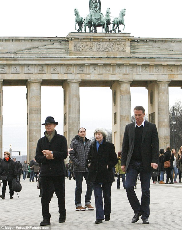 Next stop: The actor took his mother to see the famous Brandenburg Gate, one of the more well known landmarks in the country