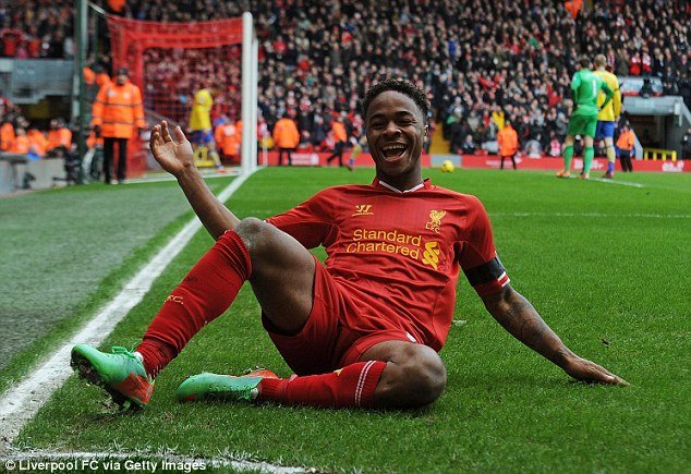 Overjoyed! Liverpool winger Raheem Sterling shows his delight after scoring