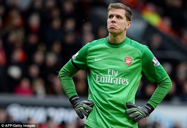 Sad face:( Wojciech Szczesny later described Arsenal's performance as 'f****** embarrassing'