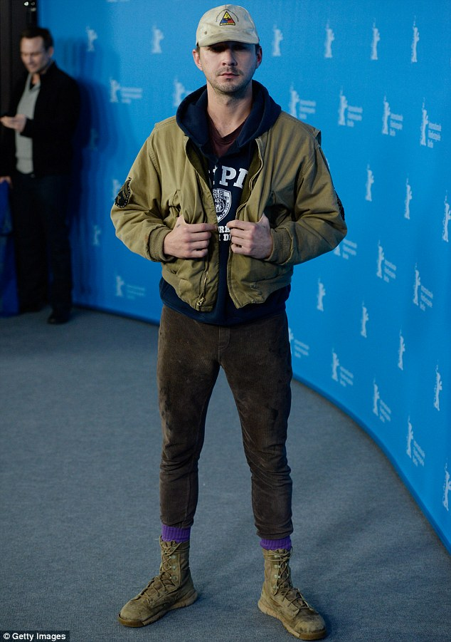 Unprofessional: Shia LaBeouf appeared shabby - and didn't stay long - at the Nymphomaniac Volume I photocall during 64th Berlinale International Film Festival at Grand Hyatt Hotel in Berlin, Germany on Sunday