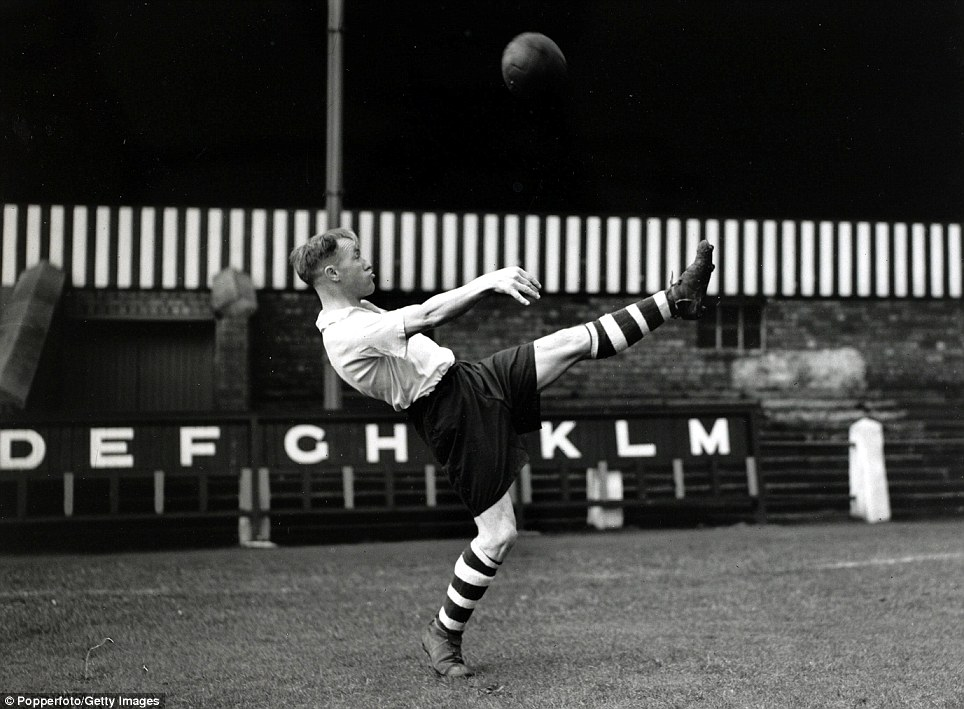 Preston North End's Bill Shankly practising an overhead kick in 1946