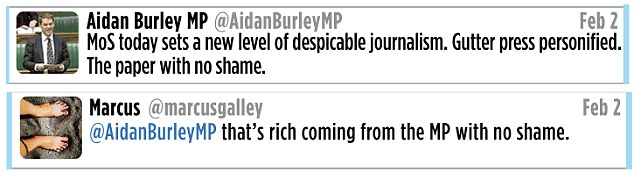 Reaction: Aidan Burley's response on Twitter to our story last week - and one user's reply