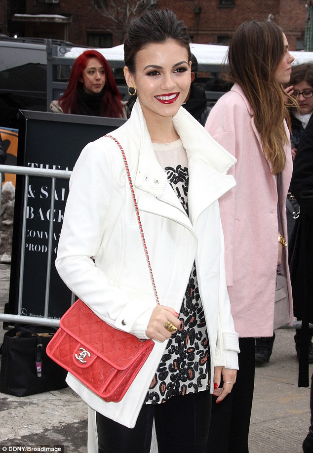 That smile! Stunning actress and singer Victoria Justice looked stunning with radiant red lipstick