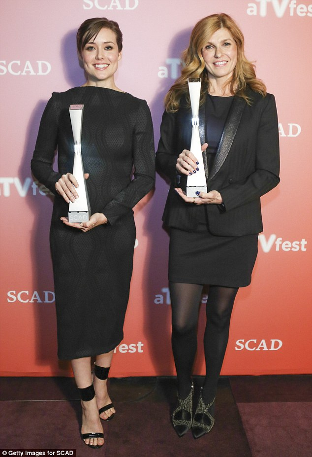 Winners! Megan Boone (L) and Connie Britton gripped their awards - Rising Star Award and Icon Award respectively - on the red carpet