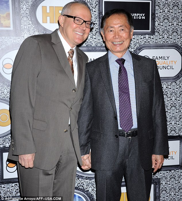 Sulu has arrived: Star Trek's George Takei arrived holding hands with husband Brad Altman