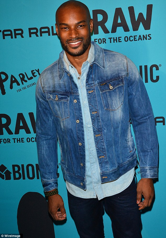 Model behaviour: Tyson Beckford attended the event, opting to wear head-to-toe denim