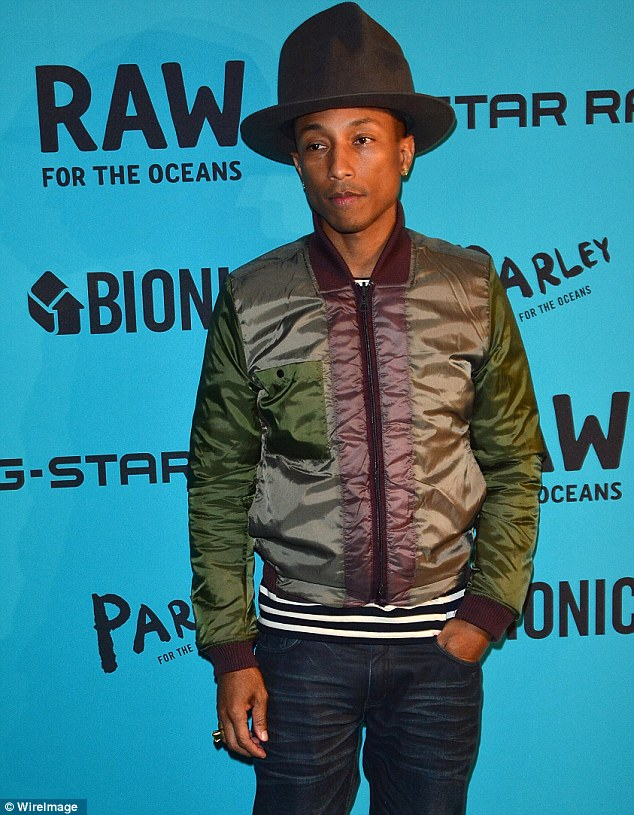 Man of the hour: Pharrell Williams attended the event for his collaboration with G-Star and Bionic Yarn, which will produce a line of denim made out of plastic thread from materials retrieved from the ocean