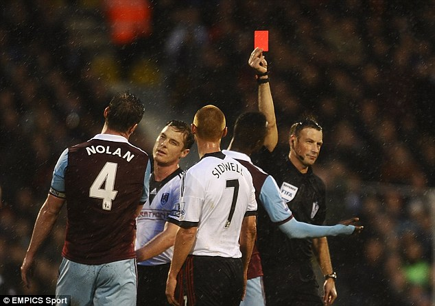 Hit in the pocket: Nolan was sent off against Fulham in early January and Sam Allardyce fined him £100,000